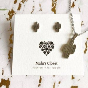 Jewelry - NEW Silver Cactus Earring Necklace Stainless Steel